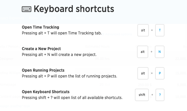 Keybord shortcuts