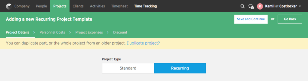 Create-recurring project