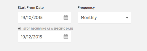 frequency with the date of end