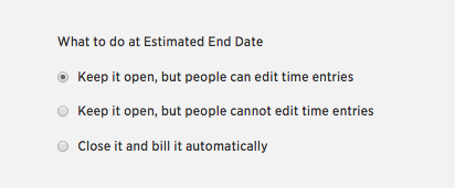 Estimated end date-options