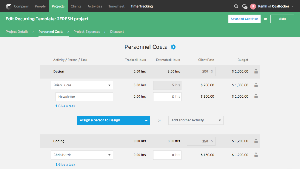 Project template-personel costs