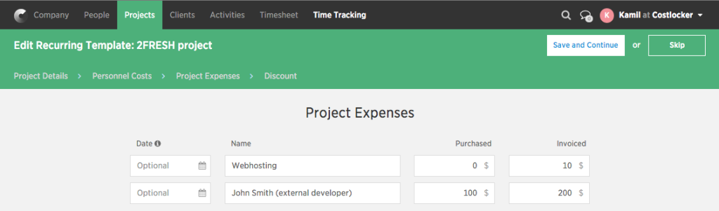 Project template-expenses