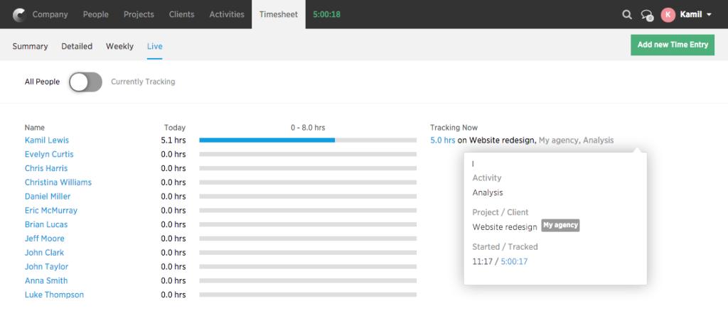 Timesheet-tracking live