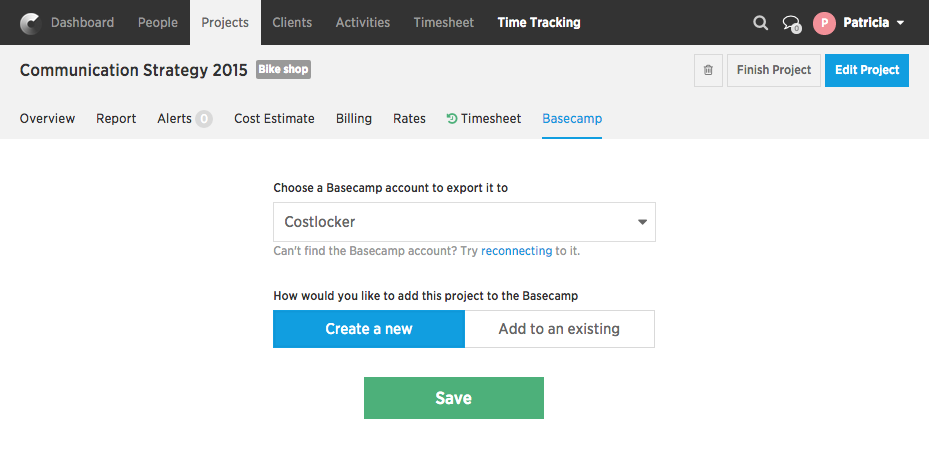 Project export to basecamp