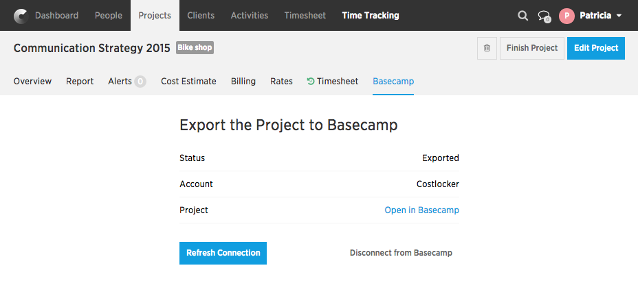 Export the Project to Basecamp