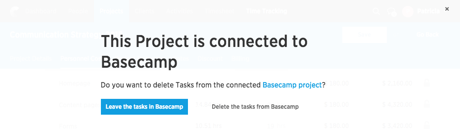 Project is connected to Basecamp