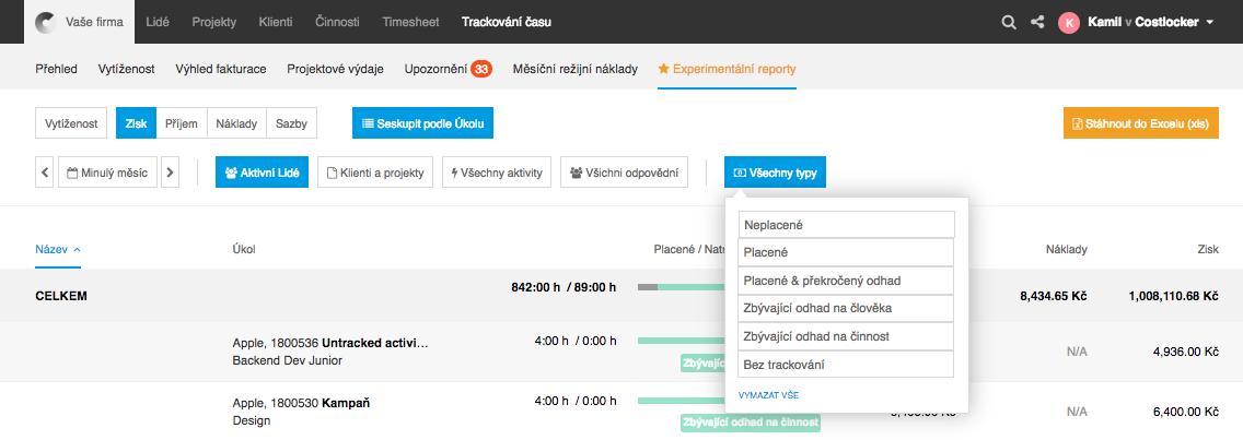 Costlocker app-filtrace dle typu projektu