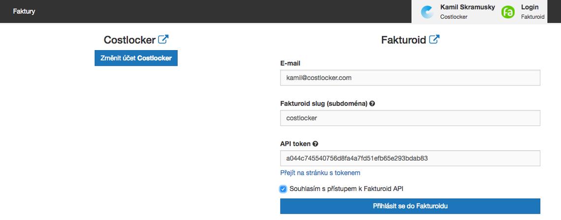 Propojení Costlockeru s Fakturoidem
