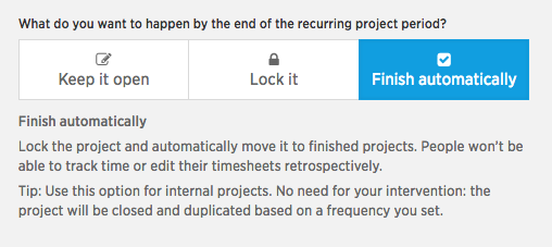 Recurring project period